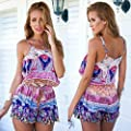 Shensee Simple Cool Sexy Women V-Neck Floral Casual Playsuit Rompers Trousers