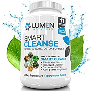 Smart Cleanse - 15 Day Colon Cleanse Biotherapeutic Detox - Free Bonus Detoxfication Ebook 35 Value - 100 Natural Ingredients Help You Lose Weight Including Acidophilus Aloe Vera Psyllium Husk Bentonite Clay - Works Gently To Eliminate Toxic Material From