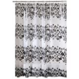 Interdesign Fiore Eva Shower Curtain, Black, 54-Inch by 78-Inch