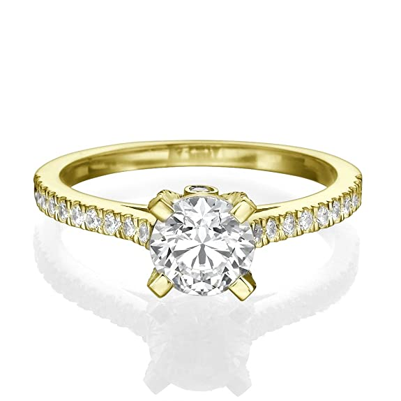 1 CT Pave Engagement Ring Round Cut with Sidestones for Ladies H/SI1 (Clarity Enhanced) 18ct Yellow Gold
