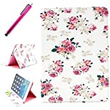 iPad Air Leather Case, JCmax Protective Cover [Card Slots] [Durable Cover] [Kickstand Feature] Flip Side Premium Foldable New Book Style PU Leather Wallet Kickstand Case Smart Cover Skin Protection For Apple iPad Air (iPad 5, 5th Generation Released 2013), Come with One Stylus - [Rose Pattern Design]