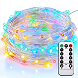 String Lights, Sanniu Colorful Battery String Lights Waterproof Design 33ft 100 LED,String Lights Battery with Remote Control 8 Modes Multi-Color