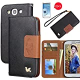 Galaxy S3 case, By HiLDA,Wallet Case,PU Leather Case,Credit Card Holder,Flip Cover Skin,Case for Samsung Galaxy SIII i9300[Black]
