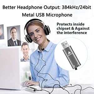 USB Lavalier Microphone-MAONO AU-411 (78 inch) Omnidirectional Condenser Lapel Mic Hands Free Shirt Collar Clip-on Microphone Plug&Plug for PC Compute