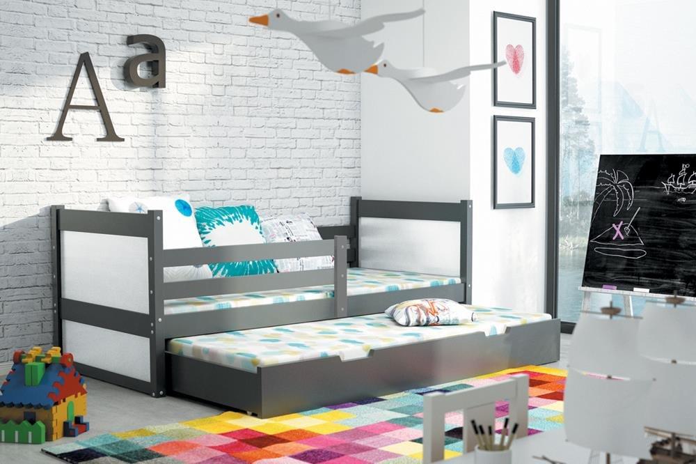 Kinderbett Holzbett RICO 2 Farbe Graphit 160×80 ausziehbar Massiv Kiefer mit Matratze + Lattenrost inkl.
