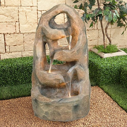 Four-Level Terra Red Pond Waterfall Fountain Outdoor or Indoor w/ Water Feature