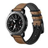 Maxjoy for Gear S3 Bands, Galaxy Watch 46mm Bands, 22mm Hybrid Sports Band Vintage Leather Sweatproof Replacement Strap with Metal Clasp for Samsung Gear S3 Frontier / Classic Smart Watch Dark Brown (Color: Hybrid Band-Dark Brown)