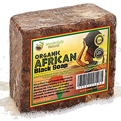 #1 Organic African Black Soap - Best for Acne Treatment, Eczema, Dry Skin, Psoriasis, Scar Removal, Dandruff, Pimples Mark Removal, Anti-fungal Face & Body Wash, Wonderfully Natural Raw Handcrafted Beauty Scrub Bar