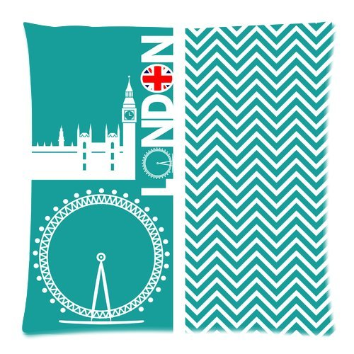 """Turquoise Cheveron London Eye Uk Flag Custom Zippered Pillow Cushion Case Throw Pillow Covers 20""""X20""""(Two Sides) front-962402"""