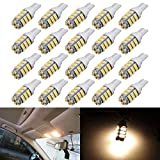 AUTOUS90 20 x RV Trailer T10 921 194 42 SMD 12V Backup Reverse LED Warm White Lights Bulbs