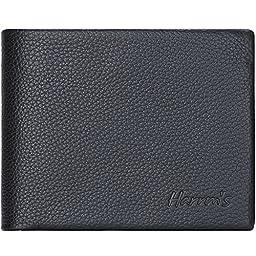 Harrms mans Genuine Leather Bifold Wallets with Designer,Ltalian Cowhide
