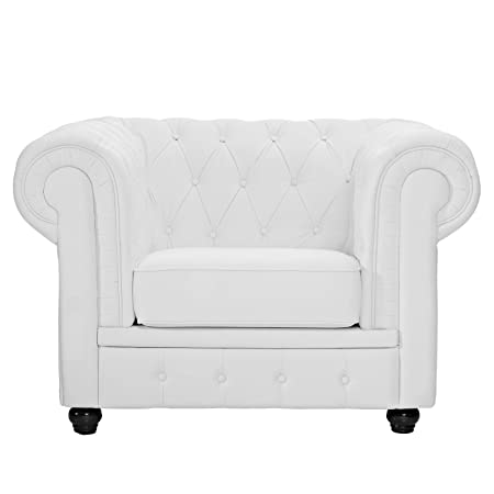 LexMod Chesterfield Armchair in White Leather and Leather Match