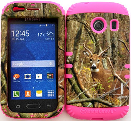 Wireless Fones TM Hybrid Impact Dual Layer Cover Case for Samsung Galaxy Ace Style S765c Straight Talk, Net10 and TracFone Real Deer Camo Mossy on Pink Skin (Camo Cases For Samsung Galaxy Ace compare prices)