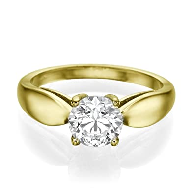 Solitaire Diamond Ring 0.60 CT Round Shaped Stone H/SI1 (Clarity Enhanced) 14ct Yellow Gold
