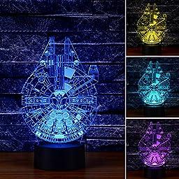 BesToo 3D Optical Illusion Millennnium Falcon Lighting Decor Lamp