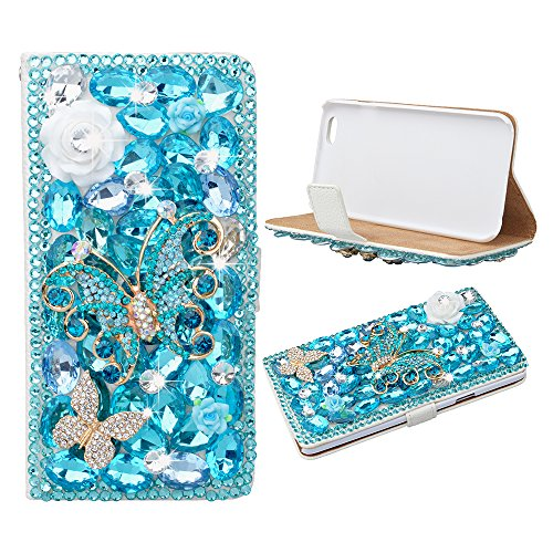 For Sale! Evtech(tm) Butterfly Floral Bling Crystal Glitter Book Style Folio PU Leather Wallet Case ...