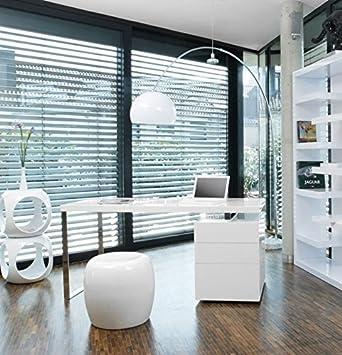 SalesFever Schreibtisch inkl. Container 3 Schubladen weiß Hochglanz White Line H 76 x B 140 x T 70cm