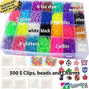 Talented Kidz 8500 Premium Rainbow Rubber Bands Mega Refill & Storage Organizer Loom: 28 Colors, 12 Charms, 500 Clips & Beads. Case With Lid Included. This Is The Authentic Mega Box Organizer Loom. Talented Kidz Exclusive! by TALENTED KIDZ
