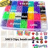 9100 Premium Quality Bundle, Talented Kidz Rainbow Rubber Band Refill Loom & Storage Organizer: 8500 Bands in 28 Colors, 12 Charms, 500 Clips, 100 Beads & Case W/Lid. Authentic Mega Box Organizer Loom