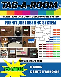Tag-A-Room Color Coded Furniture Labels, Moving Supplies Stickers 120 Count