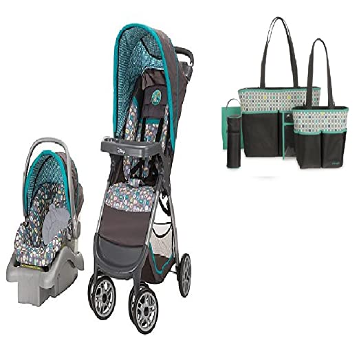 Baby Stroller Travel System and Diaper Bag Bundle (Geo Pooh)