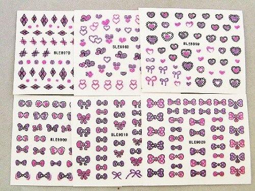3Dネイルシール 大人買いセット6種類 ピンク&パープル