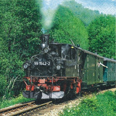 20-Servietten-Steam-Train-Dampfeisenbahn-33x33cm