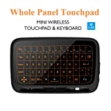 Okela 2.4GHz Backlit Mini Wireless Keyboard and Mouse Combo, Whole Panel Glass Touchpad Rechargeable Remote Control for Android TV Box, Kodi,HTPC, IPTV, PC, PS3 ,Xbox 360, Raspberry Pi 3