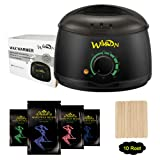 Wax Warmer, Wikvon Hair Removal Waxing Kit with 4 Hard Wax Beans and 10 Wax Applicator Sticks for Women and Men (Black) (Color: Black)