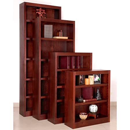 "Midas Five Shelf Bookcase 72""H Cherry Finish"
