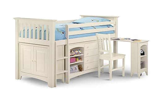 Cameo Ivory Sleep station Left Hand Ladder Pull Out Desk 4 Drawer Shelf Mini Wardrobe