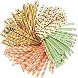 160 Pack Paper Straws - Biodegradable Straws Mint Green, Metallic Gold, Polka Dots, Coral Stripes, and Chevron Design Bulk Drinking Straws
