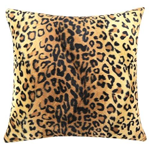 Ularma 45*45cm Tier Plüsch Kissenhülle Sofa Home Wohnzimmer Dekor Dekokissenhülle Kissenbezug Kissen Hülle Pillow Cover (Leopard) -
