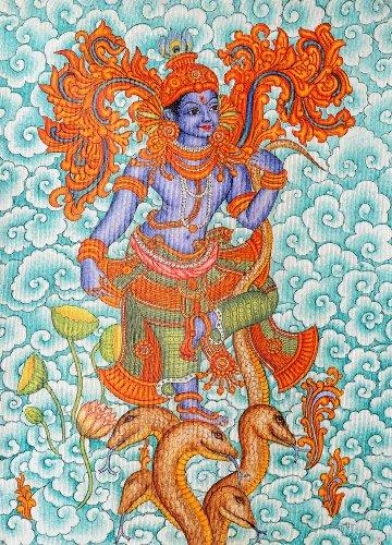 Kaliya Vijaya Leela Of Shri Krishna - Kerala Mural