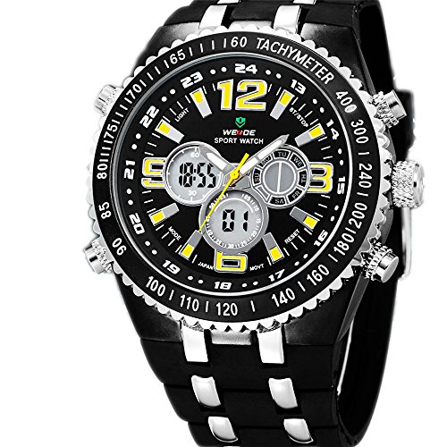 Weide Men'S Led Dual Time Alarm Water Resistant Military Style Silicone Strap Quartz Watch (Yellow)