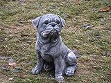 Steinfigur Welpe Hund Mops Gross 27 cm ca.6 kg Frostfest