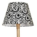 Craftter RANGOLI DESIGN Black & White Color FABRIC FLOOR Lamp Shade
