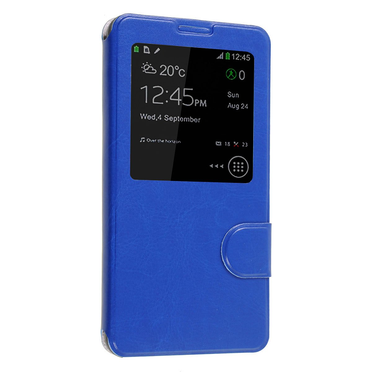 Okeler Hot Blue S-View Flip Cover Leather Case