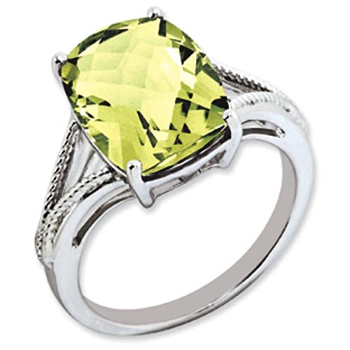 Sterling Silver Lemon Quartz Ring - Ring Size Options Range: J to T
