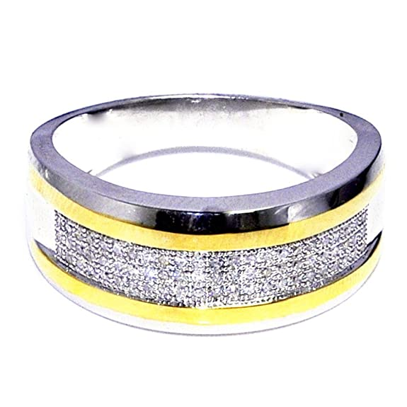Midwest Jewellery Men's Diamond Wedding Band Ring 10K White Gold Two Tone 1/4Cttw 9Mm(I/J Color 0.25Cttw)