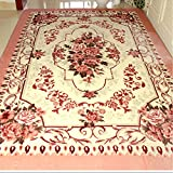 Ustide European Rustic Leisure Carpet Pink Rose Floral Design Living Room Runner Carpet Reactive Dyeing Anti-Slip Rustic Rugs for Bedroom Tea Table