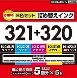 ELECOM 詰め替えインク キヤノン BCI-321・320BK対応5色セット(5回分) 2011 THC-MP630SETN