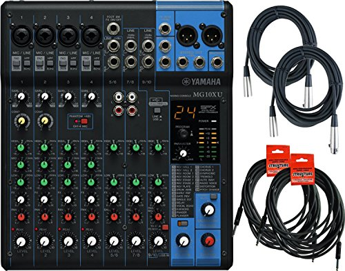 Yamaha MG10XU 10 Input Stereo Mixer (with Compression, Effects, and USB) w/ Cables (Mixer Yamaha compare prices)