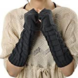 Gray Fashionable Knitted Knit Fingerless Gloves Arm Warmers