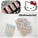 30sheets/lot Mixed Styles High Quality 3d Kt Design Cat Nail Art Stickers Decals for Nail Tips Decoration Tools