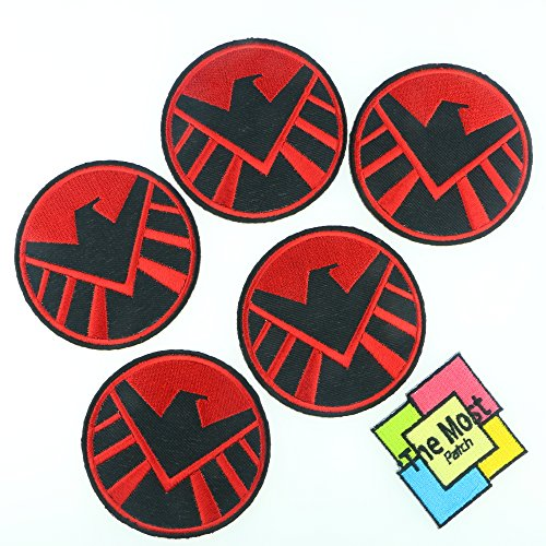 Lot of 6 (5+1) Avengers Agents of Shield Embroidered Iron/Sew On Patch (RED - BLACK) (Black Garment Shields compare prices)