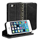 IPhone 5S case, GMYLE Book Case Vintage for iPhone 5C 5 5S - Black Classic [Crazy Horse Pattern] [PU Leather] Book style Wallet Flip Slim Case Cover