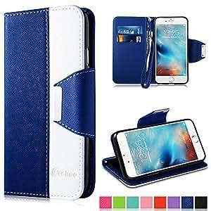 Vakoo Coque iPhone 6 6S Plus [Magnétique Fermoir] Etui Housse pour Apple iPhone 6 Plus / 6S Plus(5.5) - Bleu / Blanc
