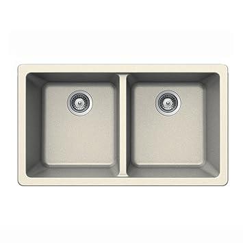 Houzer ALIVE N-200U MAGNOLIA Schock-Houzer Alive Series N-200U Undermount 50/50 Double Bowl Kitchen Sink, Magnolia