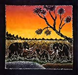 Elephant in Sun Set - Batik Wall Hangings -Tapestry Batik Art - Hand made (Small)
